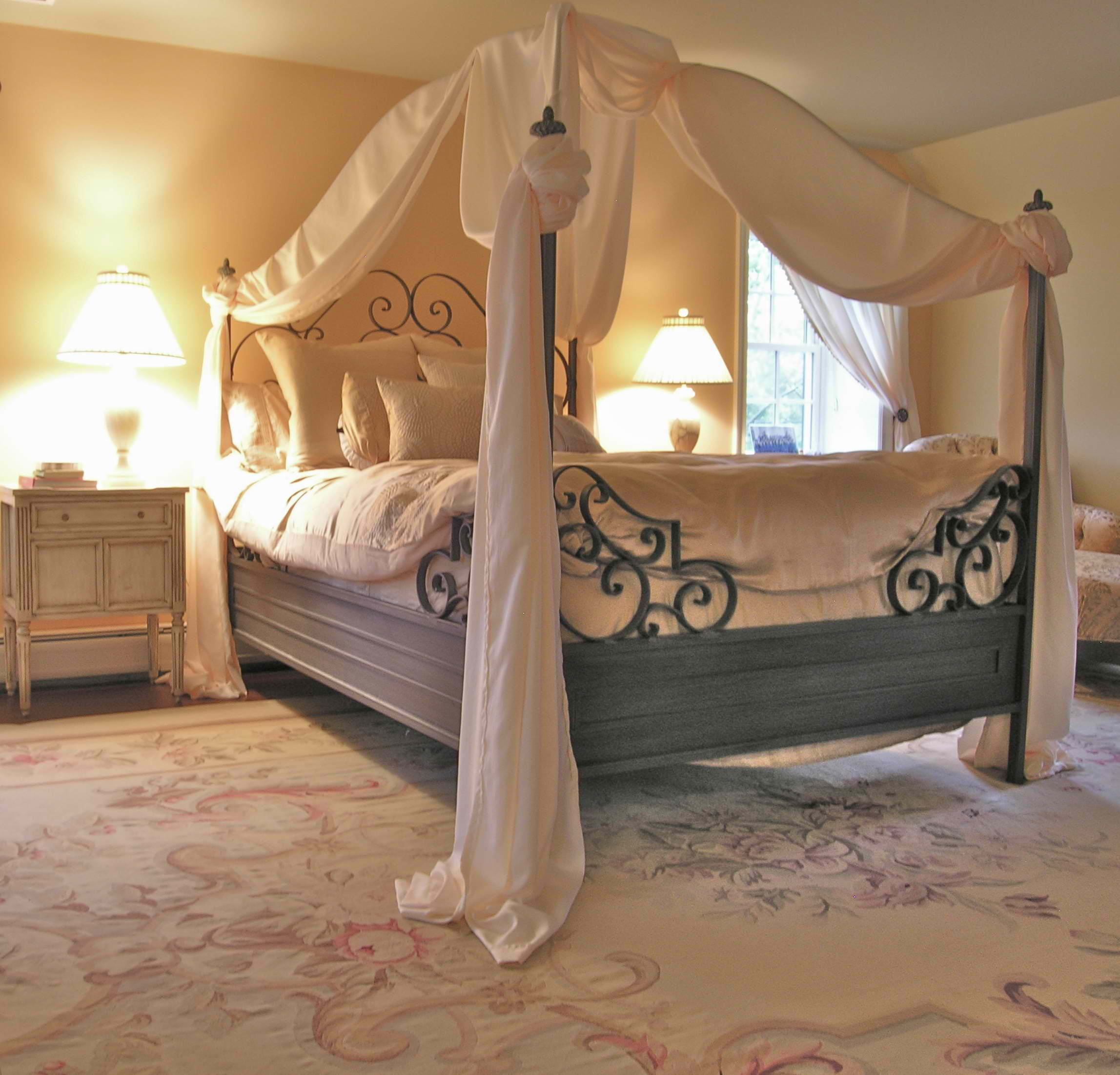 Bedroom European Style Valentines Romantic Bedroom Design With Iron Bed Frames And Pillars And Cool Lighting Design And Decorative Rug Ideas Beautiful Valentines Andrew Batey Sons Limited